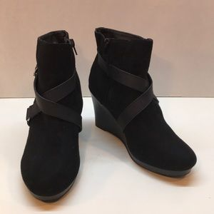 Report Black Suede & Leather Wedge Booties Size 8